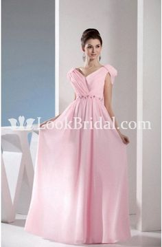 Popular A-Line V-neck Floor-Length Chiffon Mother of The Bride Dress with Ruffles m100093 - Plus Size Mother of The Bride Dresses - Mother of the Bride Dresses - Wedding Party Dresses