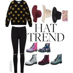 #floppyhat by tiffanybertharia-fanbert on Polyvore featuring Moschino, Miss Selfridge, T.U.K., rag & bone, Calypso Private Label, Isaac Mizrahi and Charlotte Russe