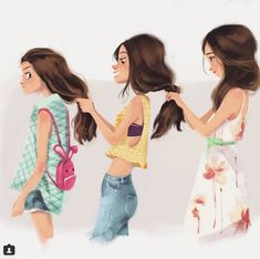 From 😧time flies! Happy women's day! Cute Best Friend Drawings, Girly Drawings, Drawings Of Friends, Best Friends Cartoon, Friend Cartoon, Cute Friends, Sad Girl Art, Anime Art Girl, Cartoon Girl Images