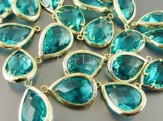 5060GSG 2 pcs Sea Green / Gold Faceted long teardrop by EverLuxe, $6.30