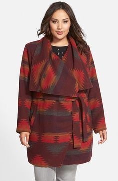Steve+Madden+'Aztec+Blanket'+Wrap+Coat+(Plus+Size)+available+at+#Nordstrom