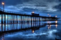Pismo Beach at night by Amy Joseph of Central Coast Pictures www.centralcoastpictures.com Pismo Beach California, California Dreamin', Beach At Night, Beach Town, San Luis Obispo County, Central Coast, Pacific Coast, Beach Pictures, Ocean Beach