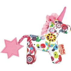 """Kathe Kruse Kirin Grabbing Toy by Kathe Kruse. $19.99. Kirin, the magic unicorn protects and guards you, gives you pleasure and lets your fantasy fly high. The grabbing toy invites your child to reach for it and grab it, it trains the hand-eye coordination, the sense of feeling and the squeaking noise keeps baby alert. The unicorn is made of colorful cotton fabric and filled with polyester wool. Machine wash at 30 degree gentle cycle. Size: 6""""."""