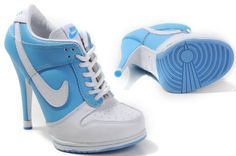 Womens Light Blue and White Nike High Heels Dunk SB Low