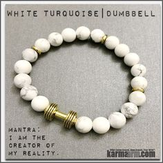Bracelets. #LOA. Law of Attraction. womens mens I Beaded & Charm Yoga Mala I Meditation & Mantra I Spiritual | karma arm. White Turquoise Gold Barbell. Dumbbell.Fitness | Weightlifting | Barbell | Dumbbell | Spinning Bracelets. Motivation | Law of Attraction ====== Karma Arm: Yoga Bracelets / Men's & Women's Beaded Mala / Handmade Luxury / Law of Attraction / Organic Chakra Healing Energy / Friendship & Love / Free Shipping.