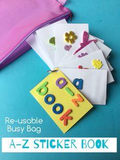 An a-z book reusable sticker book busy bag! Kids Learning Activities, Alphabet Activities, Preschool Alphabet, Alphabet Crafts, Kindergarten Learning, Alphabet Letters, Toddler Activities, Toddler Fun, Toddler Preschool