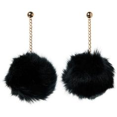 3 Pack Pom Pom Earrings Set with 3 inch Gold Dangle Chain Black, White... (24 BRL) ❤ liked on Polyvore featuring jewelry, earrings, white gold jewellery, yellow gold earrings, dangle earrings, gold jewellery and white jewelry