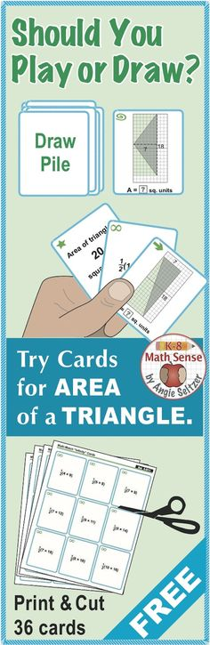 Please try this FREE set as an introduction to my wide variety of printable Multi-Match game cards. With these cards, students match triangles shown on grids to the area, to calculation cards, or to another triangle with the same area (CCSS 6.G.1). This set is also available as part of a Grade 6 Games Bundle recently featured in th TpT newsletter. ~by Angie Seltzer
