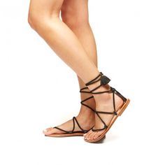 Suede Gladiator Lace Up Sandal