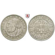 Drittes Reich, 2 Reichsmark 1933, Luther, D, f.vz, J. 352: 2 Reichsmark 1933 D. Luther. J. 352; fast vorzüglich 30,00€ #coins