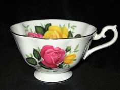 Royal Albert Bone China England June Delight RARE Pink Yellow Avon Shape cup #RoyalAlbert