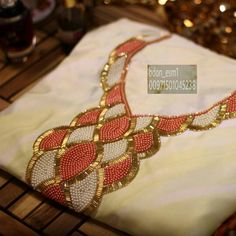 ج Zardozi Embroidery, Embroidery On Kurtis, Hand Embroidery Dress, Kurti Embroidery Design, Embroidery Neck Designs, Bead Embroidery Patterns, Embroidery On Clothes, Embroidery Works, Silk Ribbon Embroidery