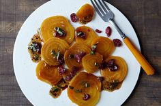 Roasted Organic Golden Beets with Sun Dried Cranberries and Basil Vinaigrette - Best Beets Contest Runner-up