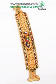 22K Fine Gold Fancy Bracelet Kada - GK265 - Indian Jewelry from Totaram Jewelers