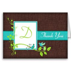 TORQUOISE AND LIME GREEN WEDDING | Turquoise Green Brown Floral Birds Thank You Card From Zazzlecom