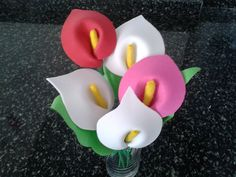كيف تصنع وردة من الفوم او الورق (زنبق)