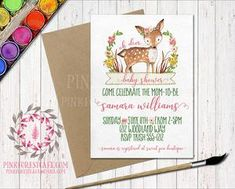 Boho Woodland Deer Baby Bridal Shower Birthday Party Invitation Invite Floral Printable
