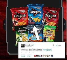 What could be better than having Chris Evans on a bag of Doritos? <-- Hahaha I get it, Chris's body is the shape of a Dorito. Lol