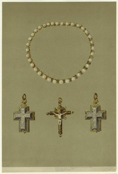 Pearl necklace of Mary Queen of Scots (1542-1587) Silver enameled reliquary-Gold enamel crucifix.
