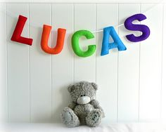 Personalised felt name banner - name garland - You pick your colours - by LullabyMobiles on madeit