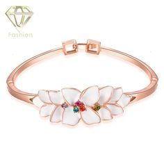 >> Click to Buy << Handmade Bangles 3 Color Styles Trendy Rose Gold Color with Black White Leaf Shaped Pendant Bracelets & Bangles Fashion Jewelry #Affiliate