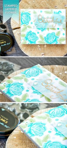 Stamp stunning realistic flowers with Altenew Bold Blossom stamp set. For details, visit http://www.yanasmakula.com/?p=55587