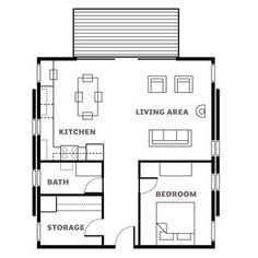 Floor plan - Affordable Cabin Escape - Sunset, why is the storage bigger than the bathroom? Small Tiny House, Tiny House Living, Small House Plans, Small Floor Plans, Cabin Floor Plans, Loft, Cottage Plan, Cabins And Cottages, Tiny Spaces