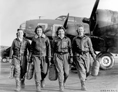 """WW2 Women pilots leaving their B-17, """"Pistol Packin' Mama"""", at Lockbourne AAF, Ohio, during WASP training to ferry B-17 aircraft. Left to right are Frances Green, Marget Kirchner, Ann Waldner and Blanche Osborn."""