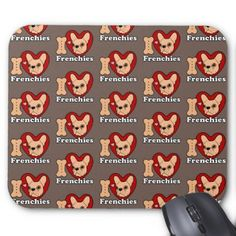 #I Love Frenchies design for all Frenchie Lovers Mouse Pad - #Petgifts #Pet #Gifts #giftideas #giftidea #petlovers