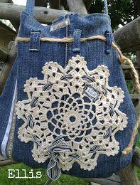 Denim jean design handbag with lace Recycled Denim, Recycled Clothing, Denim Handbags, Denim Ideas, Denim Crafts, Love Jeans, Denim Bag, Quilted Bag, Handmade Bags