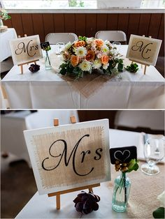 mr and mrs signs at the sweetheart table #weddingsigns #sweethearttable #weddingchicks http://www.weddingchicks.com/2014/02/06/rhythm-and-recovery-wedding/