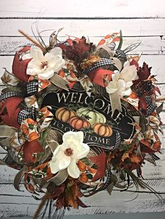 Fall Wreath, Fall Door Wreath, Large Fall Wreath for Front Door, Welcome Wreath, Fall Welcome Wreath, Autumn Décor, Fall Décor, Fall Home Décor, Fall Decorative Wreath