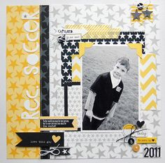 #papercraft #Scrapbook #layout. 1 photo 1 page stars gray black yellow Wendysue bellablvd soccer layout
