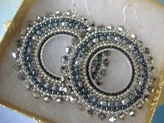 Beaded Earrings Silver Goddess Seed Bead Hoop Earrings