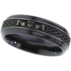 Claddagh Black Zirconium Ring Black Wedding by ArahJamesTitanium