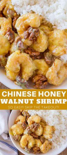 Honey Walnut Shrimp made just like your favorite takeout restaurant with the sweet honey sauce, whole walnuts and crispy fried shrimp! #chineserecipes #shrimp #shrimprecipes