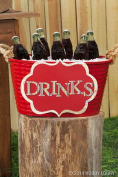 4th of July party:  paper-covered chipboard letters onto a layered cutout for a patriotic drink station - display