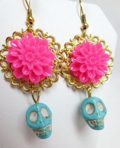 Amazon.com: Mexican Pink Flower Sugar Skull Day of the Dead Turquoise Skull Earrings: Jewelry