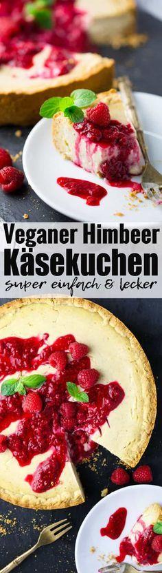 Veganer Kuchen kann so lecker sein! Meine Lieblingsvariante: veganer Käsekuchen mit Himbeersauce. So lecker und super einfach! Mehr vegane Rezepte findet ihr auf veganheaven.de !