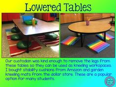 desks lowered legs taken off table for kneeling kneeling mats from dollar store exercise balls stability disks containers for shared supplies fun chairs bean bags clip bo. Classroom Layout, Classroom Design, School Classroom, Classroom Organization, Classroom Decor, Classroom Management, Future Classroom, Classroom Setting, Organizing