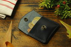 Coin pouch, leather coin purse, coin wallet black