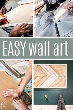 Simple Wall Art, Cool Wall Art, Easy Wall, Diy Wall Art, Wall Décor, Wood Wall, Hanging Artwork, Diy Artwork, Artwork Ideas