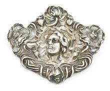 Sterling Silver Art Nouveau Brooch by Unger Brothers Vintage Silver Jewelry, Antique Jewelry, Art Nouveau Jewelry, Jewelry Art, Jewellery, Art Nouveau Design, Gold Art, Lady, Brooch Pin