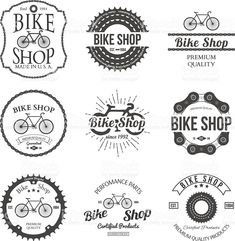 Set of vintage and modern bicycle shop logo badges and labels vector illustration Stock Vector - 42460470 Boutique Velo, Logo Boutique, Logo Velo, Bike Logo, Velo Vintage, Vintage Bicycles, Giant Bikes, Bicycle Shop, Bicycle Parts