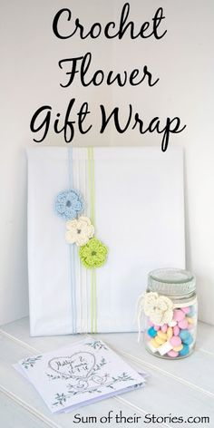 Crochet Flower Gift Wrap and a Romantic Papercut is part of Knitting and Crochet Gifts Yarns - Pretty wedding gift wrap idea using crochet flowers and a romantic papercut gift Diy Crafts For Adults, Easy Diy Crafts, Diy Craft Projects, Handmade Crafts, Simple Crafts, Simple Diy, Yarn Flowers, Crochet Flowers, Crochet Gifts