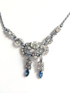Vintage Art Deco Style Rhinestone Bridal Necklace by Coro - WholeheartedVintage on Etsy