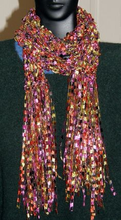 Pink Brown Green Fancy Ribbon Scarf Confetti Classic Accessory Multi colored light weight scarf Hand made Mcleodhandcraftgifts,