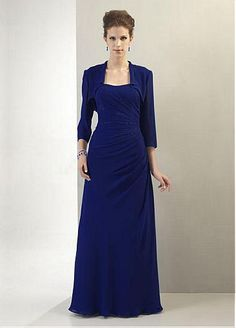 Fantastic Chiffon A-line Strapless Neckline Floor Length Beaded Mother of the Bride Dress With Jacket