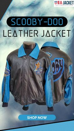 Shop the vintage Scooby-Doo Leather Jacket in Bomber Style. This jacket is crafted by real leather material. Available in exciting blue and black color combinations. Black Color Combination, Motorcycle Jacket, Bomber Jacket, Leather Material, Real Leather, Rib Knit, Scooby Doo, Leather Jacket, Sleeves