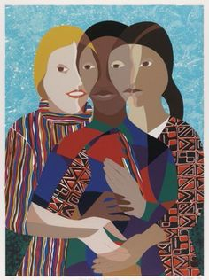 """Elizabeth Catlett 1990. """"Three Women of America""""  Serigraph,  Depicts three women of different ethnicity, their faces blending as though to say we are all the same."""